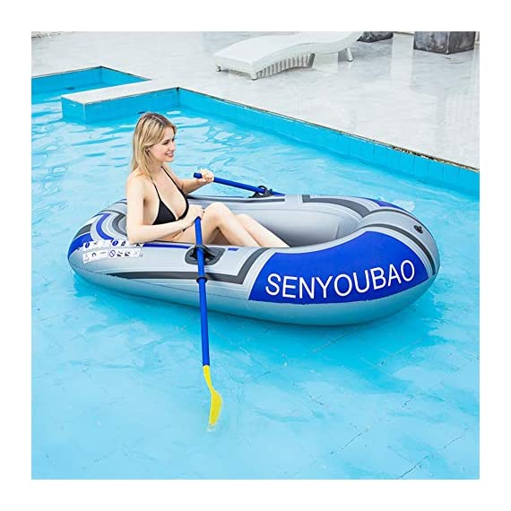 Inflatable kayak set fishing boat drifting diving rowing air boat with oars for kids adults 6 the inflatable boat can hold up to 90kg/198lb, suitable for 1-2 person, the float pool boat is made of thick pvc material, skin-friendly and durable the touring kayaks set package with paddles and a simple air pump(not electric), comfortable for you to sit inflatable dinghy boat is made of premium pvc material, which is stable and pressure resistance. The inflatable boat can be folded, easy to carry and storage