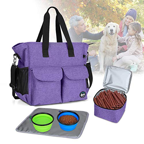 Teamoy Dog Travel Bag, Week Away Dog Supply Tote Bag, Included 2 Silicone Collapsible Bowls, 1 Food Carrier, 1 Water-Resistant Placemat, Purple