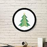 DIYthinker Extracto del árbol de Navidad de Origami patrón de la Pintura del Arte de Fotos de imágenes de Madera Marco Redondo Regalo a casa decoración de la Pared Grande Negro