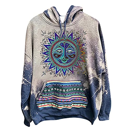 Men Women Oversized Novelty Hoodies,Vintage Sun and Moon Graphic Sweatshirts Casual Loose Long Sleeve Pullover Blouse, Unisex