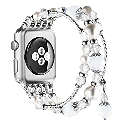 White Handmade Beaded Bracelet Replacement for Apple Watch