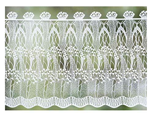 zarte Scheibengardine Pusteblume aus Plauener Spitze 40 cm hoch x 98 cm breit