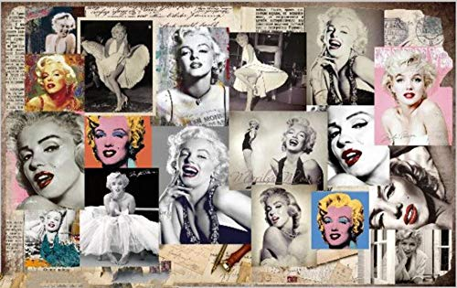 Looaceo 3D Autoadhesivo Foto Mural Fondo De Pantalla Europa Y América Retro Mural Papel De Pared Restaurante 3D Tienda De Ropa Estrella Hermosa Mujer Fondos Fotográficos(W)250X(H)175Cm