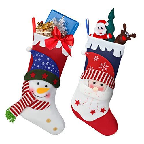 Oladwolf - Set di 2 calze natalizie con Babbo Natale e pupazzo di neve, con sacchetto per caramelle e regali