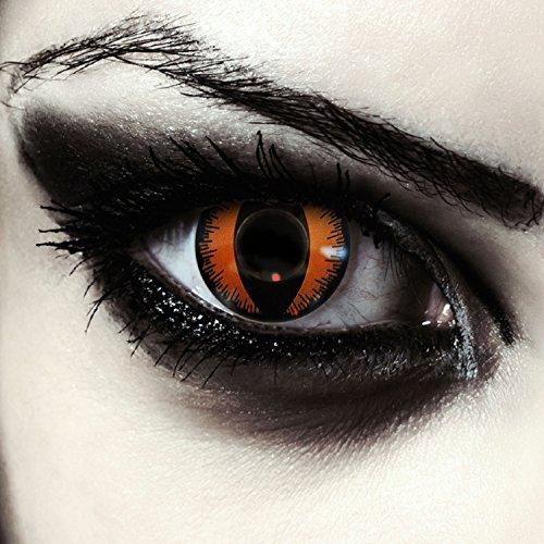 Designlenses Lenti a Contatto Colorate Arancia Occhio di Gatto Arancio per Halloween Costume, morbide, Non corrette Modello: Orange Dragon
