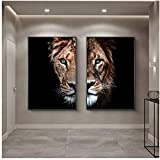 African Wild Lion and Lioness Family Art Paintings Print on Canvas Art Posters and Prints Animals Lions Art Pictures Cuadros 40x60cm(16x24in)×2