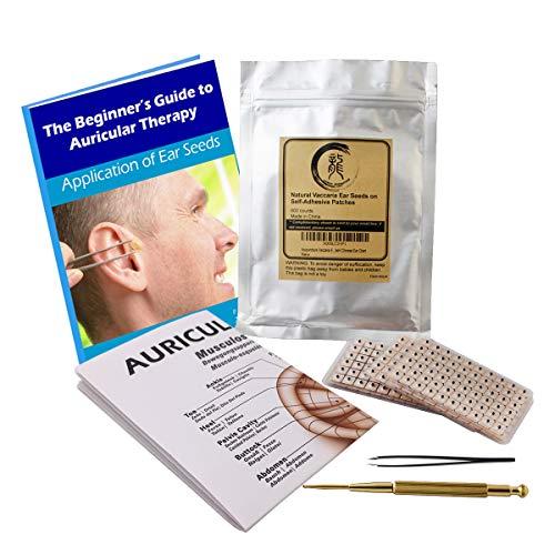 Kit de Graines Auriculaires pour Etats Multiples 600 Unités, Diagramme de Positionnement dans un eBook, Sonde, Diagramme pour Acupuncture, Pincette