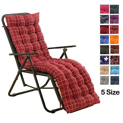 Yurun Liegestuhl Stuhlkissen, Dick Liegenauflagen 120x48cm, 8 cm dick waschbar und pflegeleicht, für Sonnenliege Relaxliege Rotes Plaid