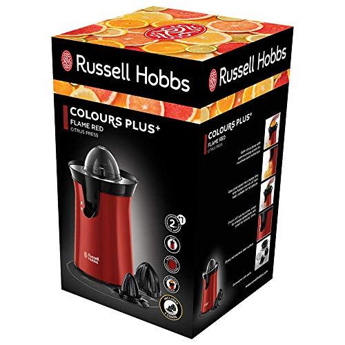 Russell Hobbs 26010-56 Spremiagrumi, Rotazione a Pressione bi-direzionale, 60 W, Acciaio Inox, Rosso