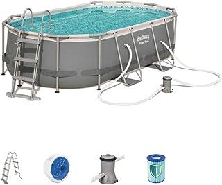 Bestway - Kit de piscina ovalado de Power Steel (4,24 x 2,50 x 1,00 m, incluye escalera, dispensador Chemconnect y bomba de filtración)