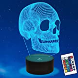 Ammonite Skull Night Light for Kids, 3D Illusion Lamp LED Desk Table Lamp 16 Colors Change with Remote Control and Timing Function, Best Christmas Halloween Birthday Gift for Child Boys