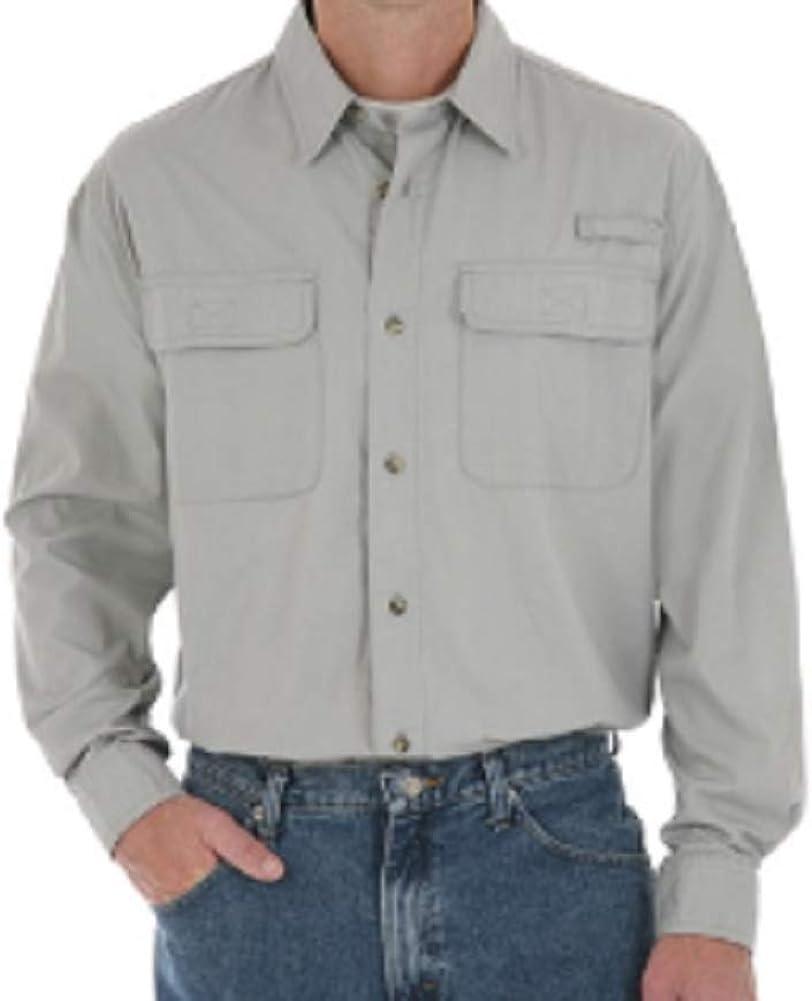 Wrangler Shirt Mens New Size S mesh Neck Cotton Long Sleeves Utility Multifunctional Pockets Grey
