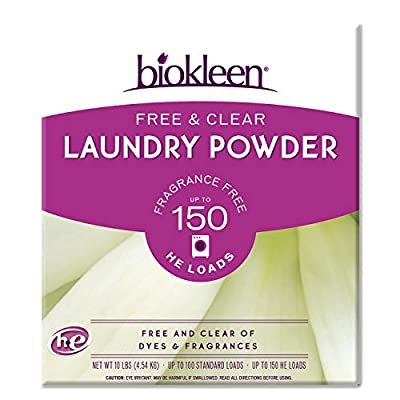 Biokleen Free & Clear Laundry Detergent - 150 Loads - Powder, Concentrated, Eco-Friendly, Non-Toxic, Plant-Based, No Artificial Fragrance or Preservatives, Free & Clear, Unscented