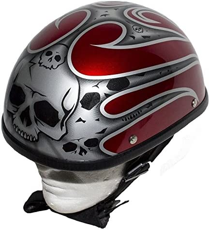 Burgundy Novelty Motorcycle Helmet with Silver Flames Size 2XL Max 70% OFF Jacksonville Mall