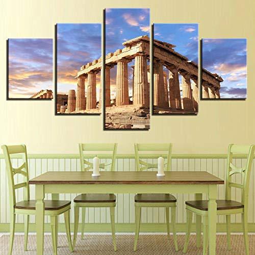 5 Piezas Cuadro sobre Lienzo De Fotos Templo del Partenón Acrópolis Atenas Grecia Lienzo Impresión Cuadros Decoracion Salon Grandes Cuadros para Dormitorios Modernos Mural Pared Listo para Colgar