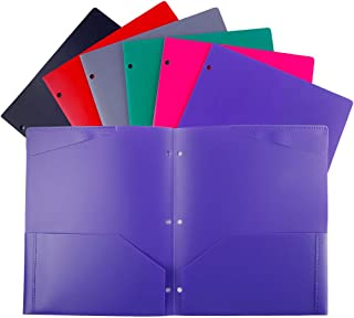 Plastic Pocket folders with 3 Hole,Heavy Duty Star folders,Assorted Colors,Pack of 6