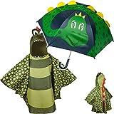 alles-meine.de GmbH 2 TLG. Set: 3D Effekt - Regenschirm + Regenponcho - Dinosaurier / Drache / Krokodil - Kinderschirm - Ø 75 cm - Regencape - Kinder - 2 bis 6 Jahre - Stockschir..