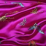 Meterware als Dekostoff- Rose Rosa Schmetterling Brokat