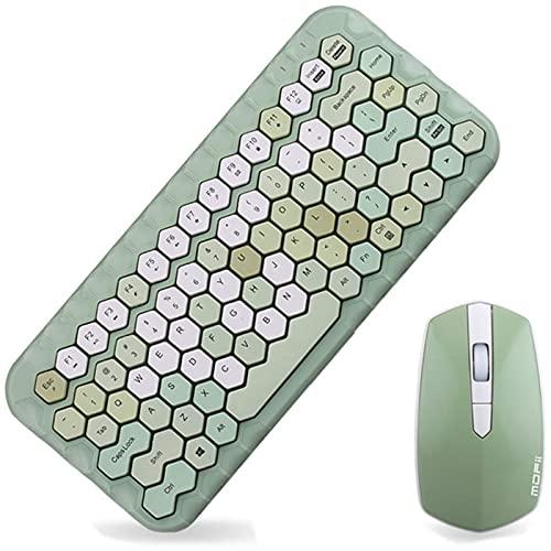 Mini combinación de Teclado y Mouse inalámbricos 2.4 GHz 83 Teclas Teclado y Mouse compactos, Delgados y en Forma de Panal Juego de Teclado y Mouse con Colores Mixtos ergonómicos