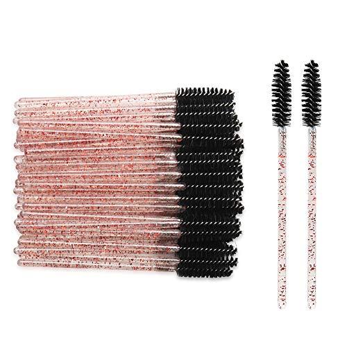 300 Pack Disposable Mascara Wands for Eyelash Extensions Eye Lash Applicators Makeup Brushes Tool kits, Crystal Pink-Black