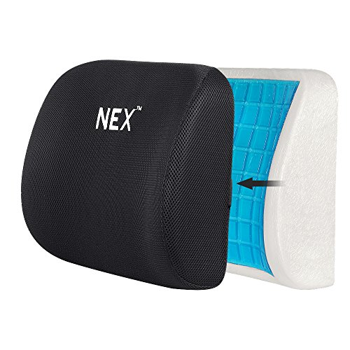 Back Cushion Gel Memory Foam Cushion for Back Pain Relief Home Use Lumbar Pillow Back Support Mesh Pad for Office Clerk, Driver, Game Player