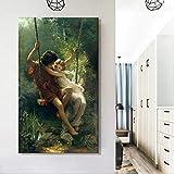 Sanguolun Cuadro En Lienzo Pintura Famosa del Pintor francés Pierre Auguste Cot, Carteles de Primavera Impresos en Lienzo, imágenes artísticas de Pared para la decoración de la Sala de Estar 60x90cm
