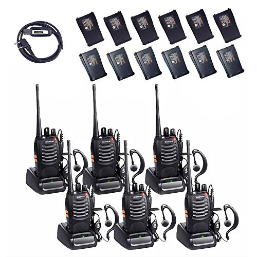 BaoFeng BF-888S 2 Way Radio with Extra 1500mah Batteries and Earpiece Long Range Baofeng Walkie Talkie Two Way Radio (2 Pack) + One USB Programming Cable