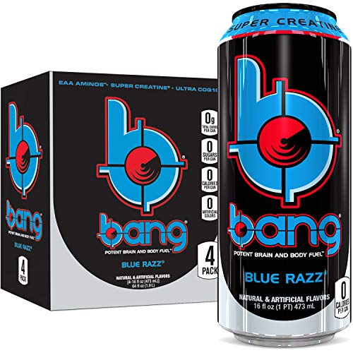 Bang Blue Razz Energy Drink, 0 Calories, Sugar Free with Super Creatine, 16oz, 4 Count