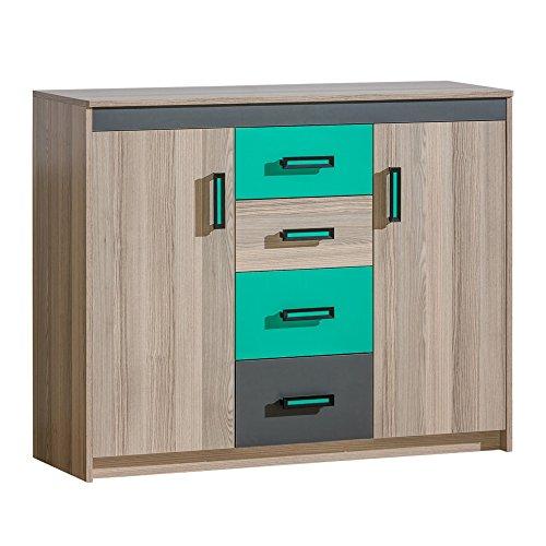Furniture24 Kommode ULTIMO U10, Sideboard mit 2 Türen und 4 Schubladen für Jugendzimmer, Kinderzimmer (Coimbra Esche/Anthrazit/Grün)