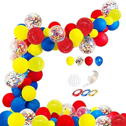 109 globos de látex de 12 pulgadas, color rojo, amarillo y azul