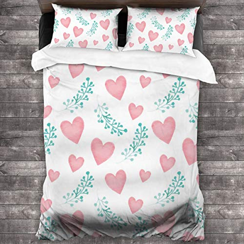 3-Piece Bedding Set Pink Love And Blue Leaves 100% Natural Polyester,1 Duvet Cover And 2 Pillowcases,Ultra Soft And Breathable