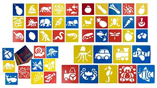 Diersjablonen (54 stuks) – tekensjablonen voor knutselprojecten, scrapbooking, kaarten, journaals, schilderen, thuiswerken – kunststof, 14,2 x 15,2 cm