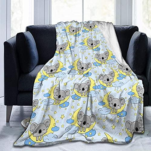 Manta de Felpa Suave Cama Lindo Koala Duerme en la Luna Manta Gruesa y Esponjosa Microfibra, Suave, Caliente, Transpirable para Hogar Sofá , Oficina, Viaje
