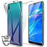 LK Hülle für Huawei Y7 2019 / Y7 Prime 2019,Schlanker Weiche Flex Silikon TPU Schutzhülle Hülle Cover mit Panzerglas Folie[1 Stück] für Huawei Y7 2019 / Y7 Prime 2019 - Transparent