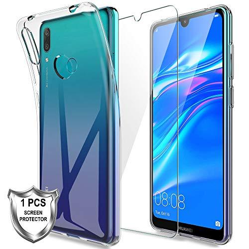 LK Kompatibel mit Huawei Y7 2019 Hülle mit 1 Stück Bildschirmschutz Schutzfolie, Klar Schutzhülle Transparent TPU Silikon Handyhülle Durchsichtige Hülle Cover, Crystal Clear