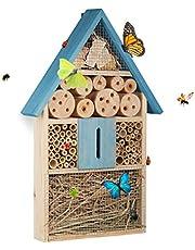 Relaxdays Insektenhotel für Schmetterlinge, Käfer, Bienenhaus Zum Aufhängen, Garten Casa para Insectos, Azul, 7x31x48.5 cm