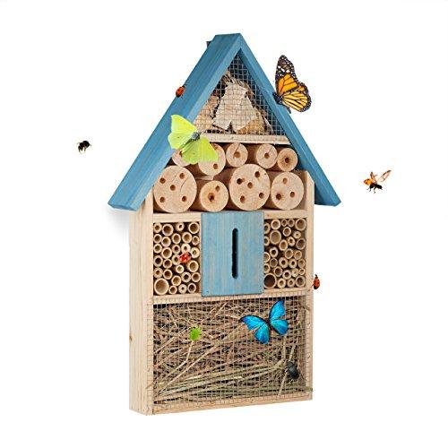 Relaxdays, bleu Hôtel à insectes à suspendre maison à papill