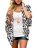 Chunoy Women Casual Leopard Printed Kimono Cover Up Open Front Chiffon Party Lightweight Cardigan Blouse Top White X-Large