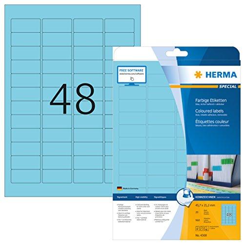 HERMA 4368 Farbige Etiketten DIN A4 ablösbar (45,7 x 21,2 mm, 20 Blatt, Papier, matt) selbstklebend, bedruckbar, abziehbare und wieder haftende Farbetiketten, 960 Klebeetiketten, blau