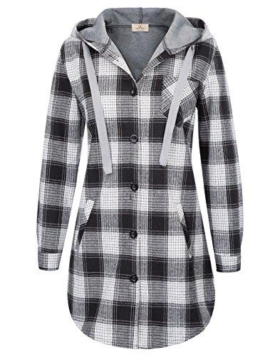 Women's Hoodie Plaid Shirts Casual Top Sweatshirt with Pocket XL Black