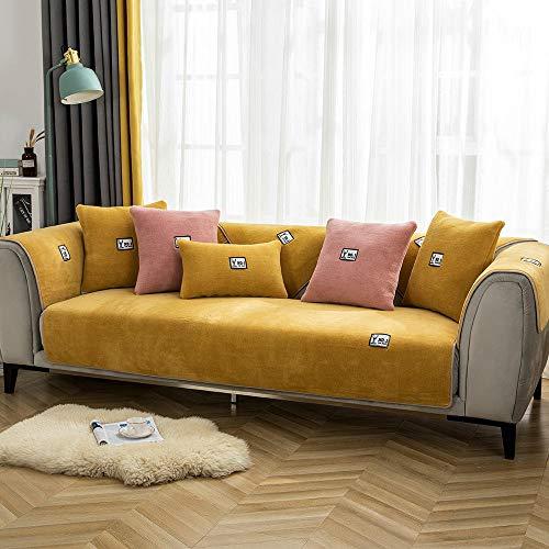 Funda decorativa para sofá de invierno, funda de cojín de forro polar, funda de sofá gruesa de felpa, antideslizante para sofá, alfombrillas suaves, funda para brazos, 45 x 45 cm, funda de almohada