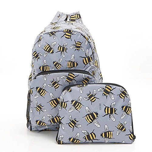 Eco-Chic Foldable Expandable Backpack Grey Bee Foldable Backpack