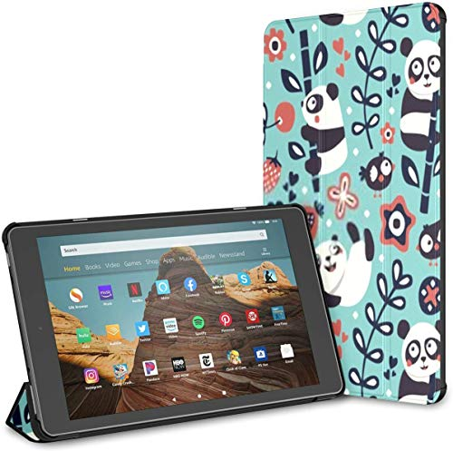 Case for All-New Amazon Fire Hd 10 Tablet (7th and 9th Generation,2017/2019 Release),Slim Folding Stand Cover with Auto Wake/Sleep for 10.1 Inch Tablet, Seamless Cute Pattern Panda Bamboo Plants