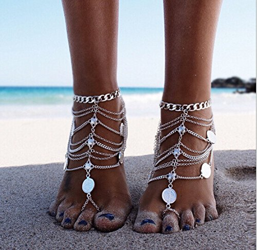 Kercisbeauty Toe Ankle Chain Silver Anklet Boho Barefoot Sandal Accessories Women Girls Beach Festival Party Jewelry Adjustable (Silver)