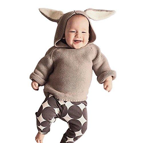 De feuilles Kleinkinder Sweatshirt Langarm Winter Pullover Strickpullover Hase Hasenohren Baby Strick Jumper Unisex Jungen Mädchen Hoodies