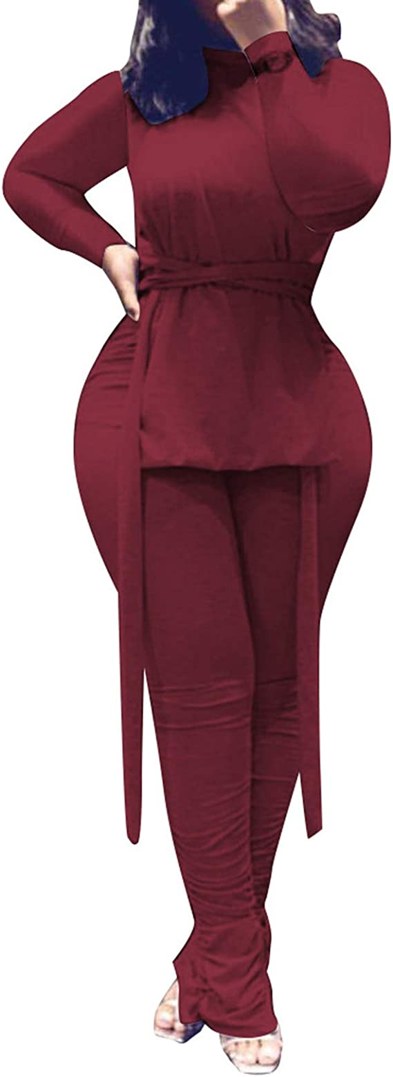 Salimdy Outfits for Women 2 Piece Sets Long Sleeve Hoodies Pullover and Stacked Pants