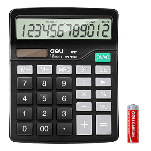 Calculator, Deli Standard Function Desktop Calculators with 12 Digit Large Display, Solar Battery LCD Display Office Calculator, Black