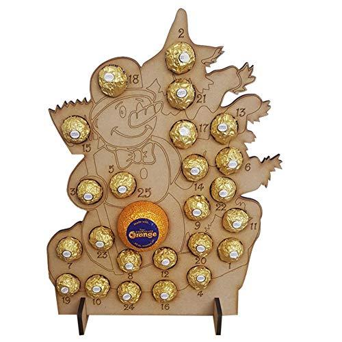 Dreameryoly Hecho a mano de madera Calendario de Adviento de Navidad Hueco Cuenta atrás Árbol de Navidad Soporte de chocolate Decoración para el hogar Amarillo