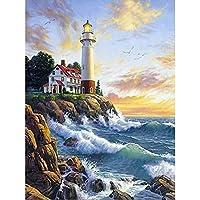 ダイヤモンド刺繡灯台5Dフルスクエアダイヤモンド絵画クロスステッチ風景ラインストーン写真