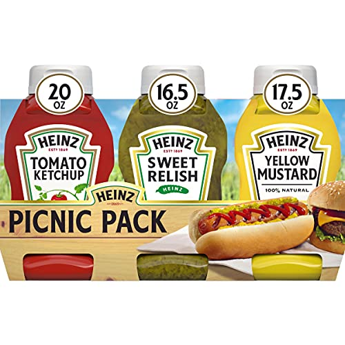 Heinz Tomato Ketchup (Sweet Relish & 100% Natural Yellow Mustard Picnic Variety Pack, 12 ct Pack, 4 Boxes of 3 Bottles)